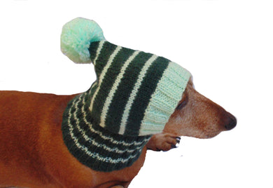 Clothes for small dog handmade knitted green hat with pompon - dachshundknit