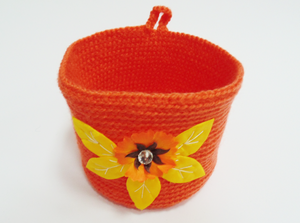 Knitted decorative hanging basket