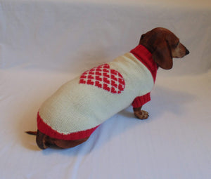 Dachshund clothes Heart knitted sweater - dachshundknit