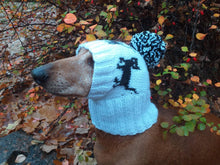 Load image into Gallery viewer, Dachshund hat with black cats knitted for dog - dachshundknit