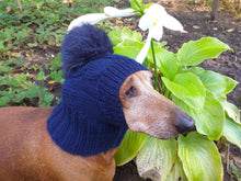Load image into Gallery viewer, Dachshund winter hat with pompom rabbit - dachshundknit