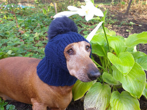 Dachshund winter hat with pompom rabbit - dachshundknit