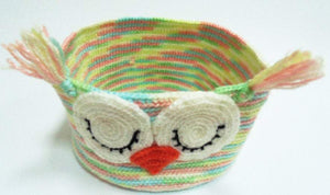 Decorative knitted handicraft basket - dachshundknit