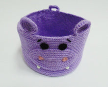 Load image into Gallery viewer, Decorative knitted handicraft basket for hippopotamus - dachshundknit