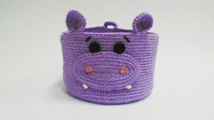 Decorative knitted handicraft basket for hippopotamus - dachshundknit