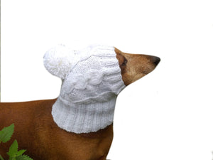 Dog clothes white hat with pompom - dachshundknit