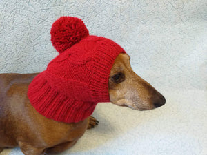 Dog hat red with big pompom, Knitted dachshund hat with big pompom - dachshundknit