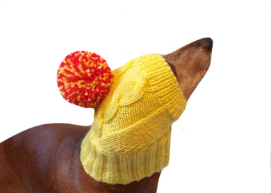 Dog hat yellow knitted with big pompom - dachshundknit