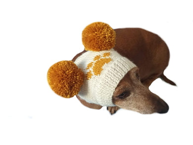 Doxie hat with two pompons, dachshund hat with two pompons - dachshundknit