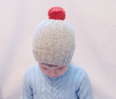 Knitted hat with bright pompon, Knitted winter warm hat universal size child, woman, teenager