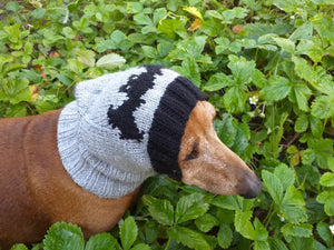 Gray knitted hat for dog bat halloween - dachshundknit