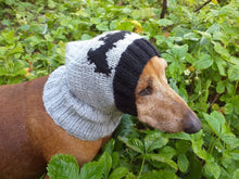 Load image into Gallery viewer, Gray knitted hat for dog bat halloween - dachshundknit
