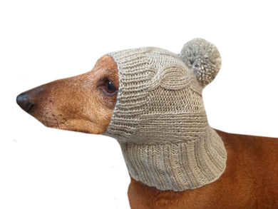 Gray winter hat with pompom for a dog, hat dachshund with pompom - dachshundknit