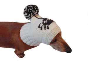 Halloween hat dog spider with big pompom - dachshundknit