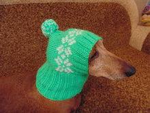 Load image into Gallery viewer, Handmade warm hat with snowflakes for small dog - dachshundknit