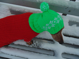 Handmade warm hat with snowflakes for small dog - dachshundknit