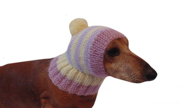 Hat dog Angora warm winter with pompom - dachshundknit