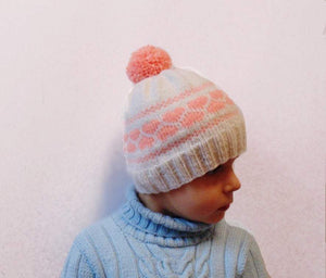 Hat for girls with hearts children cap is made for 4-7 years - dachshundknit