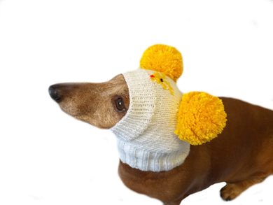 Hat with deer and two pompons for dog - dachshundknit