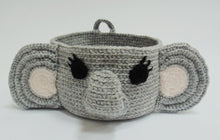 Load image into Gallery viewer, Knitted elephant basket, decorative basket, basket toys - dachshundknit