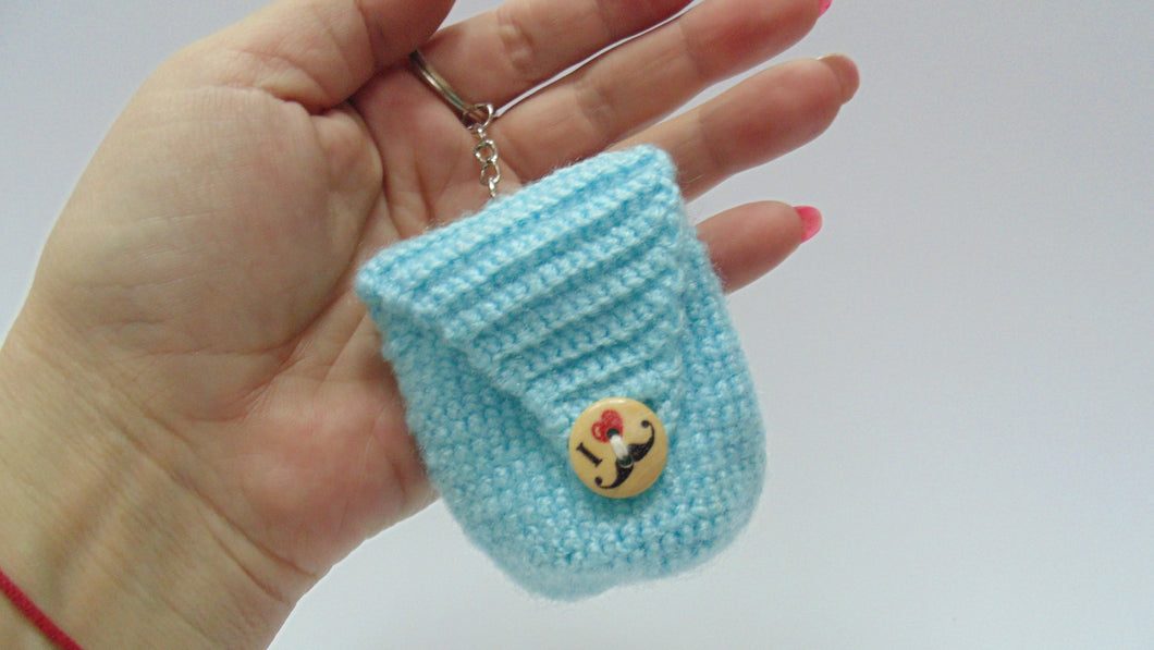 Knitted backpack keychain or headphone,Knitted bag, pouch, Holder, purse, keychain for headphones - dachshundknit