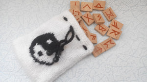 Knitted bag for runes with a magic symbol - dachshundknit