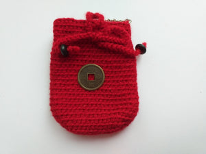 Knitted bag, pouch, Holder, purse, keychain for headphones - dachshundknit