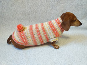 Knitted clothes dachshund sweater with pompom, dachshund clothes, dachshund sweater, doxie clothes - dachshundknit