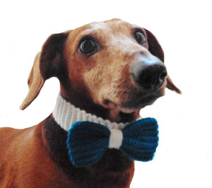Knitted collar bow for dog cat,collar bow for dog cat, knitted collar for dog, collar for cat, decorative collar, gift collar for dog - dachshundknit
