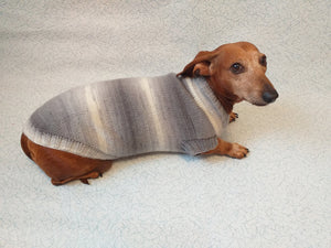 Knitted gray sweater for small dog - dachshundknit
