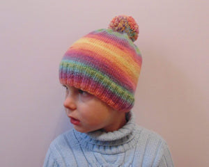 Knitted handmade colorful hat, hat with pompon - dachshundknit