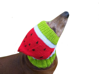 Knitted hat for dog watermelon - dachshundknit