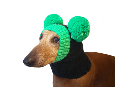 Knitted hat for dog with bright green pompons - dachshundknit