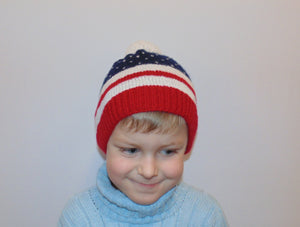 Knitted hat with pompom American flag,, woman teenager child hat - dachshundknit