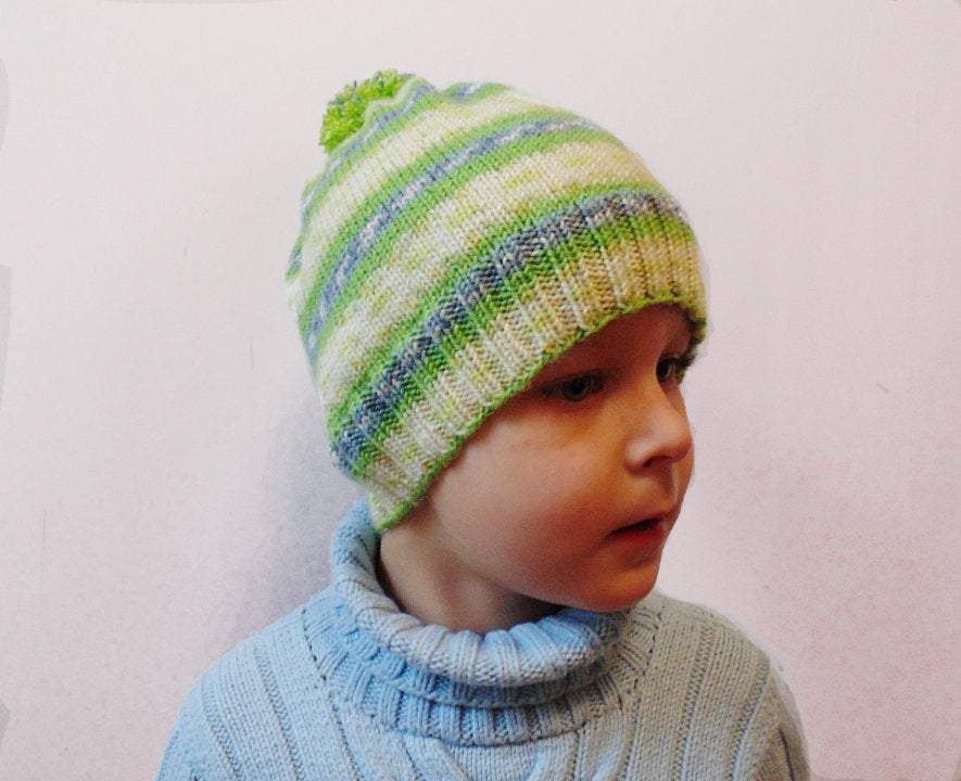 Knitted hat with pompom, woman teenager child hat - dachshundknit