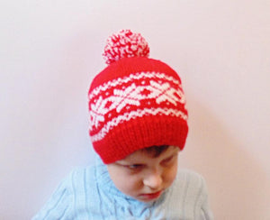 Knitted hat with snowflakes, red hat, Christmas hat - dachshundknit