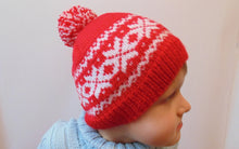 Load image into Gallery viewer, Knitted hat with snowflakes, red hat, Christmas hat - dachshundknit