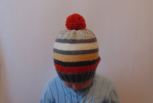 Knitted hat with stripes, blue hat, hat for boy - dachshundknit