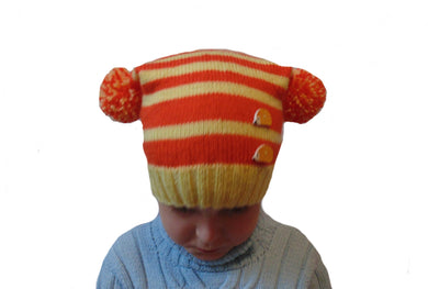 Knitted hat with two pompoms,two pom pom - dachshundknit
