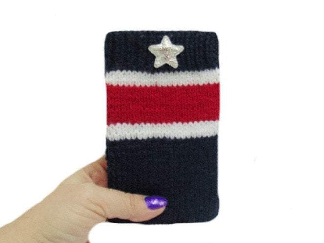 Knitted phone case USA Flag,Phone Case, Smartphone Case - dachshundknit