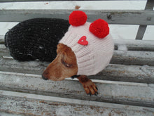 Load image into Gallery viewer, Knitted pink hat for small dachshund dog with two pom-poms - dachshundknit