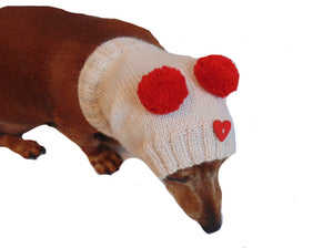 Knitted pink hat for small dachshund dog with two pom-poms - dachshundknit