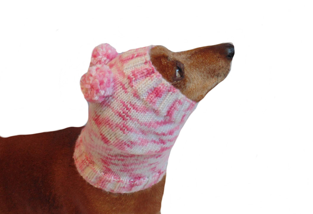 Knitted pink winter snud for dogs with two pom-poms - dachshundknit