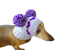 Load image into Gallery viewer, Knitted purple hat with two pom-poms for mini dachshunds or small dogs - dachshundknit