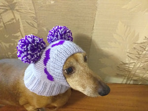 Knitted purple hat with two pom-poms for mini dachshunds or small dogs - dachshundknit