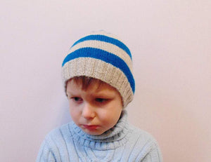 Knitted striped hat, handmade knitted hat, boy hat, beanie hat - dachshundknit
