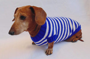 Knitted striped sweater for dog in nautical style - dachshundknit