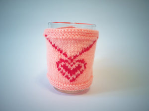 Knitted sweater for cups for Valentine's Day, cover for cup, cover for heating cup - dachshundknit