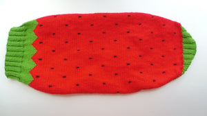 Knitted sweater strawberry for dogs, clothes for dachshunds - dachshundknit