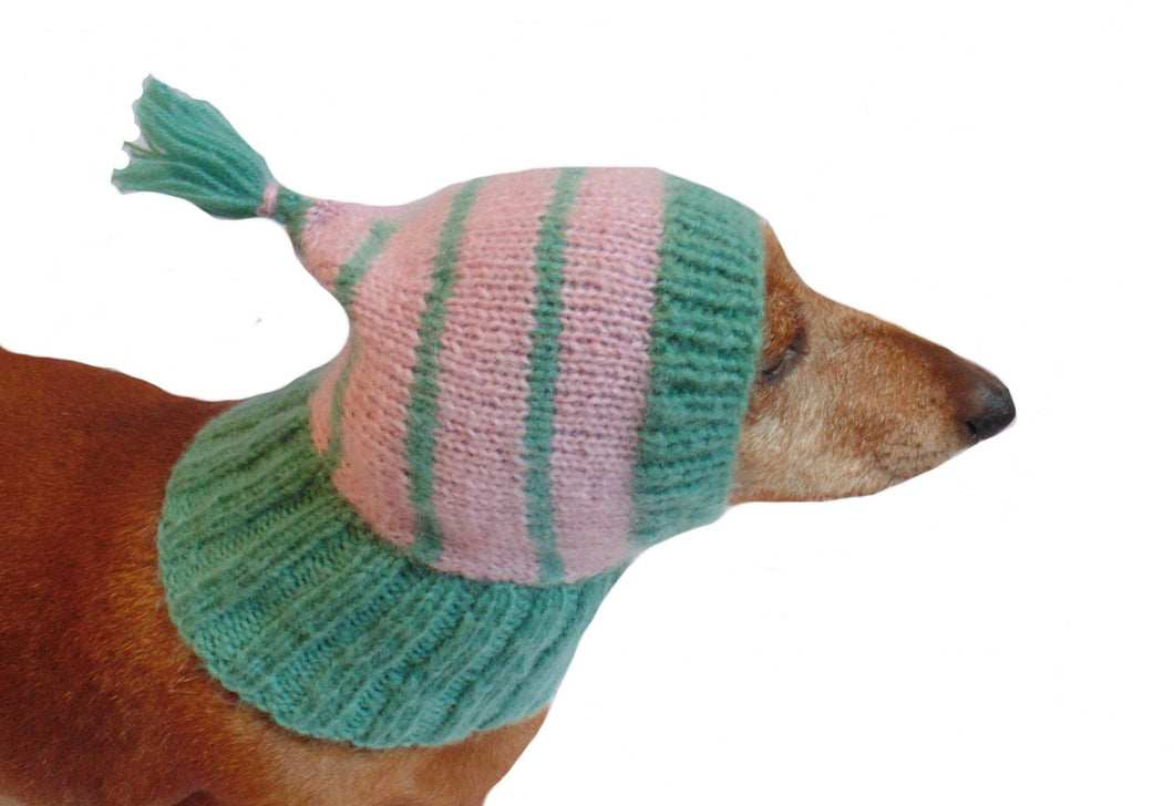 Knitted warm winter angora hat for small dog - dachshundknit